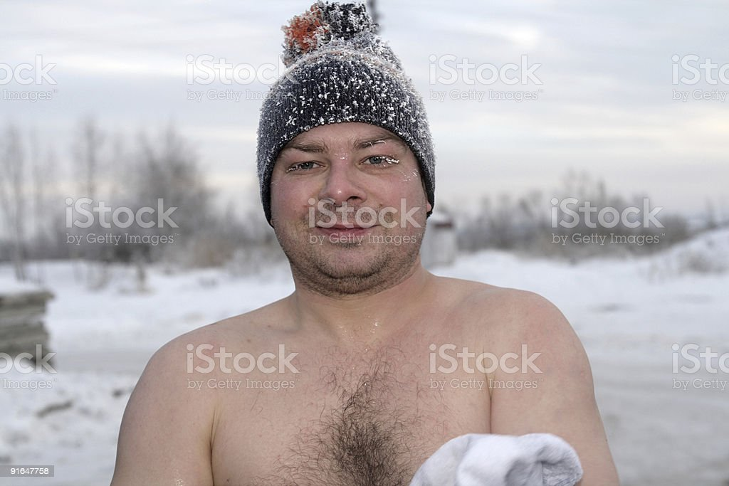 The winter swimmer royalty-free stock photo
