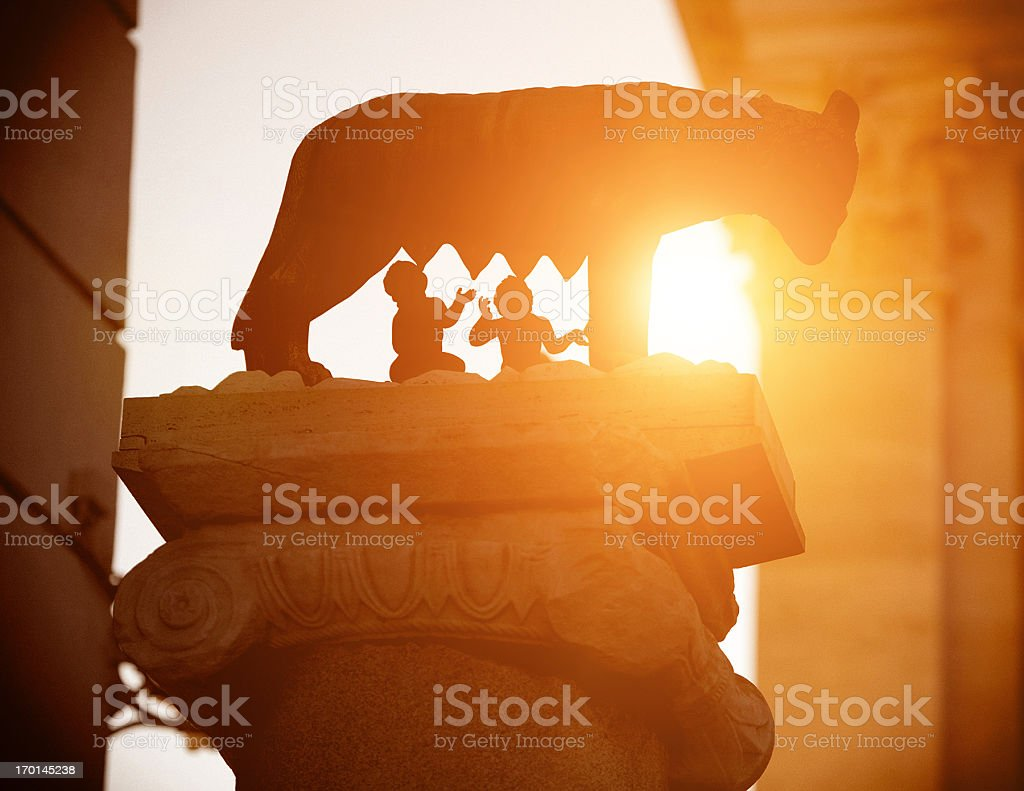 The Wolf symbol of Rome at sunset stock photo