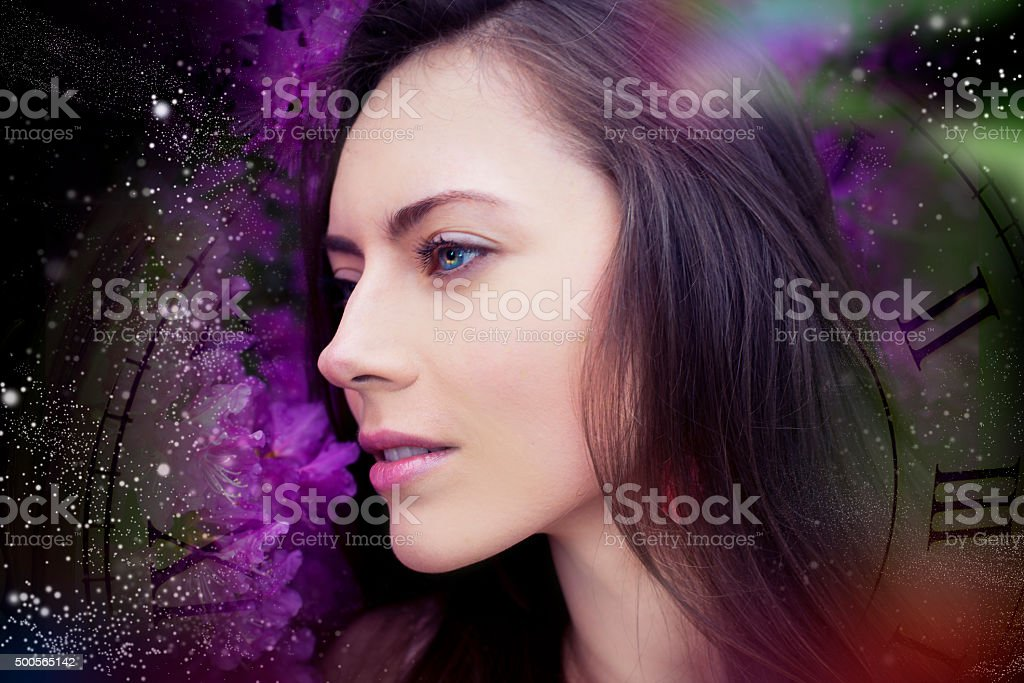 The woman from space dreams, the Universe stock photo