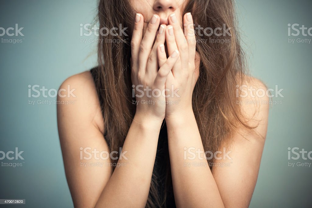 The woman in horror stock photo