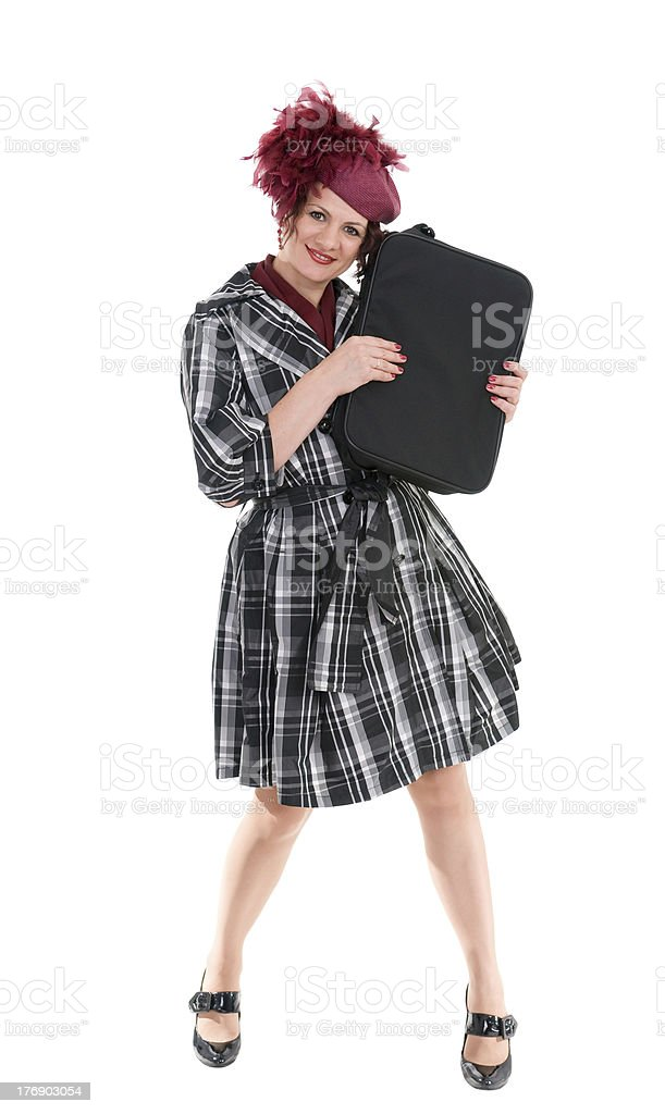 the woman is with a bag stock photo