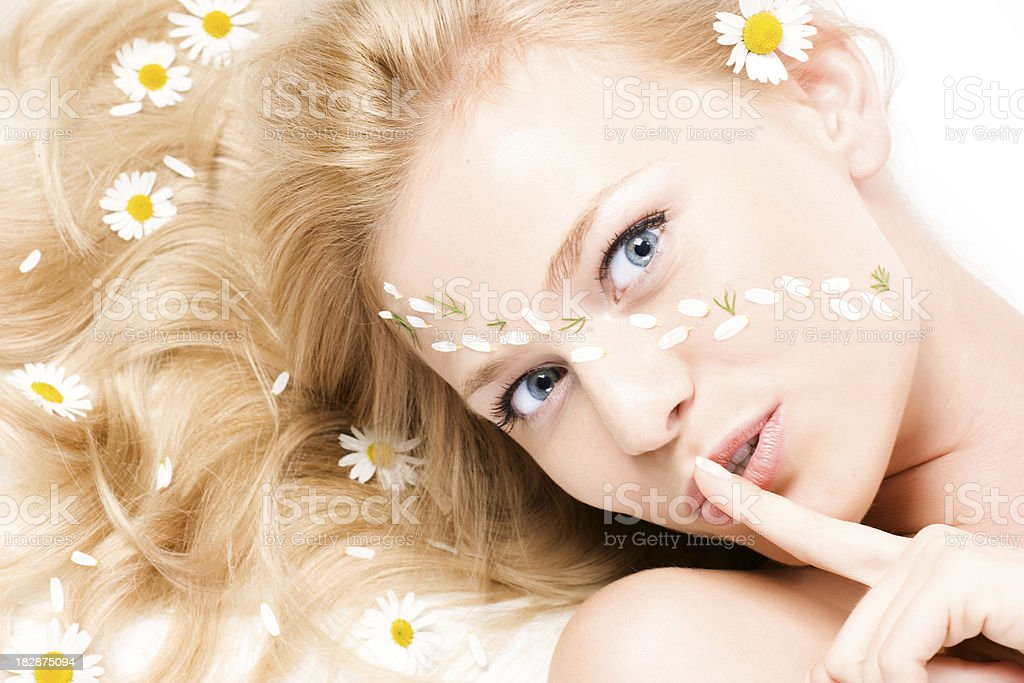 The woman looking up royalty-free stock photo