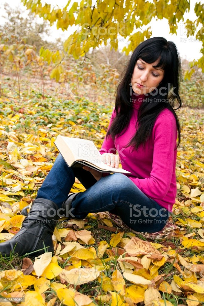 The  woman reads the book stock photo