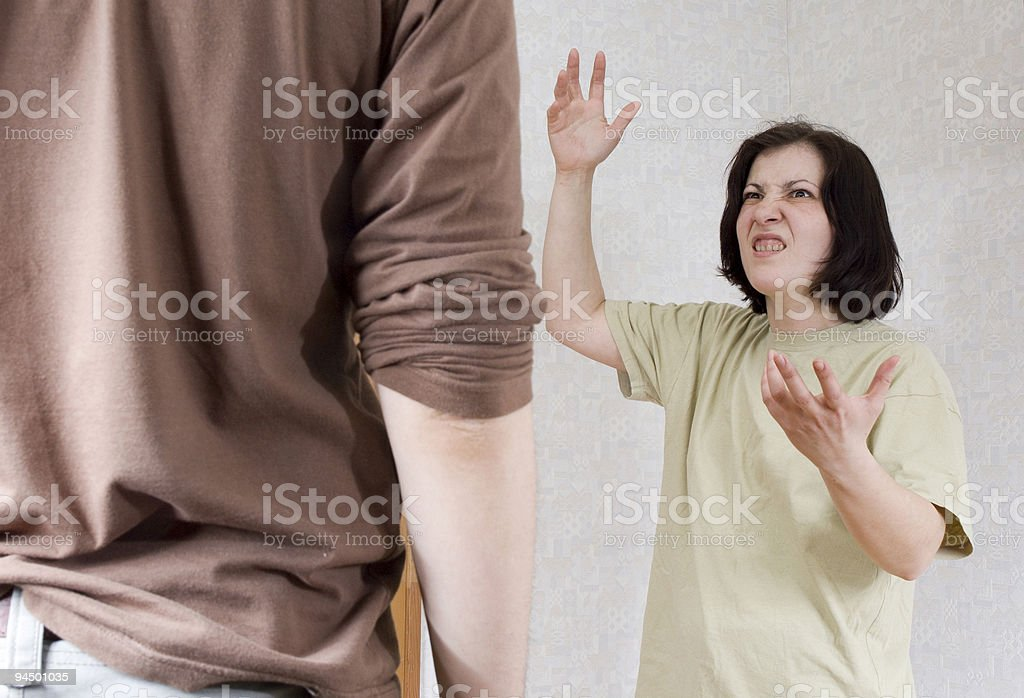 The woman swears and shouts royalty-free stock photo