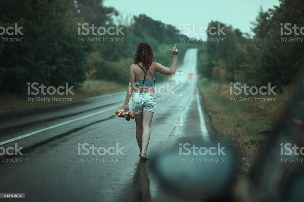 The woman was gone. stock photo