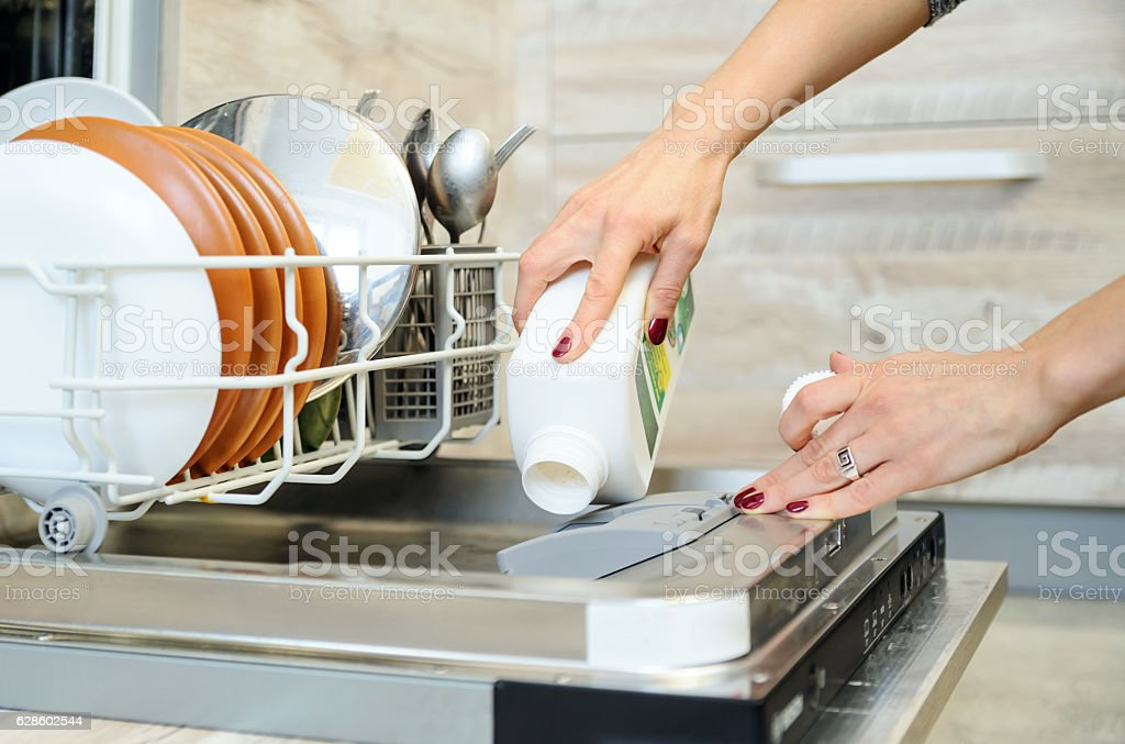 The woman washes the  dishes in the dishwashing machine. royalty-free stock photo