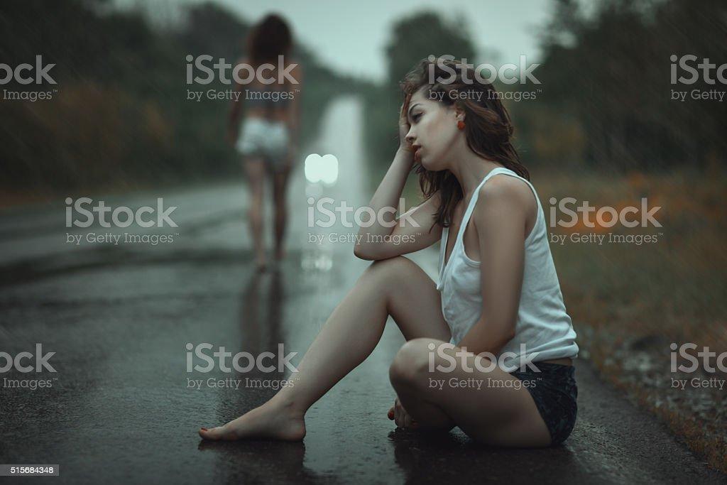 The women quarreled. stock photo