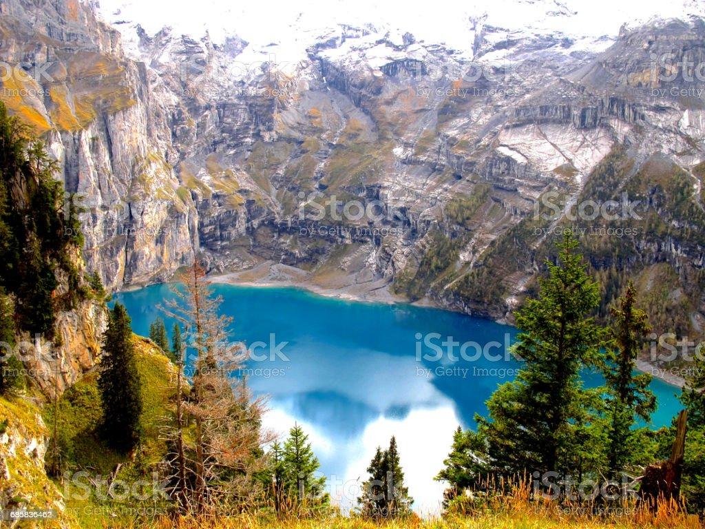 The wonder of oeschinen lake stock photo