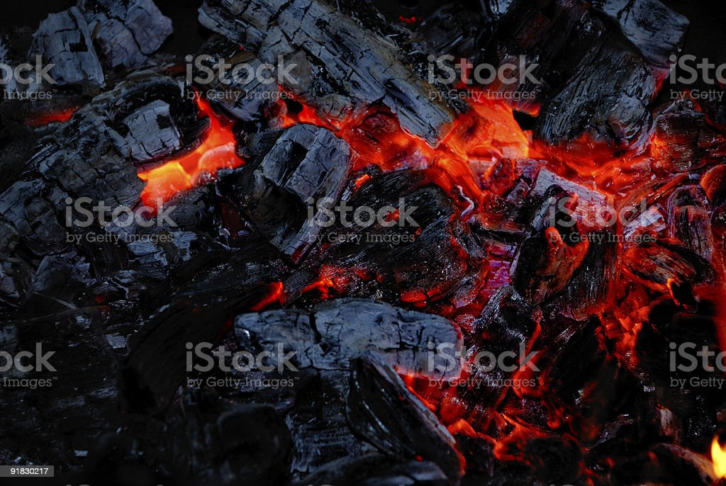 The wood coal burns on fire royalty-free stock photo