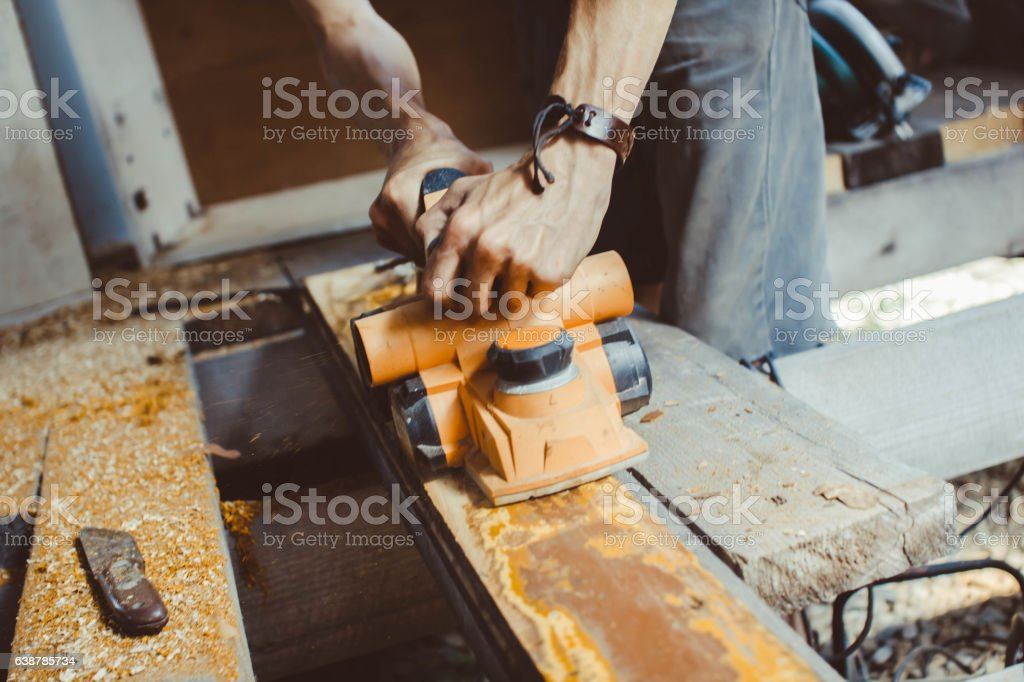 the wood processing planer stock photo