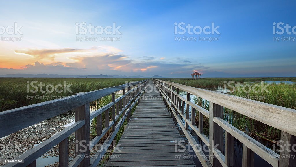 The Wooden Bridge with Colorful Sky. stock photo