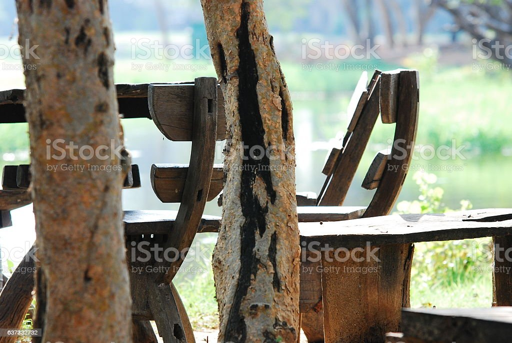 The wooden chair in the garden stock photo