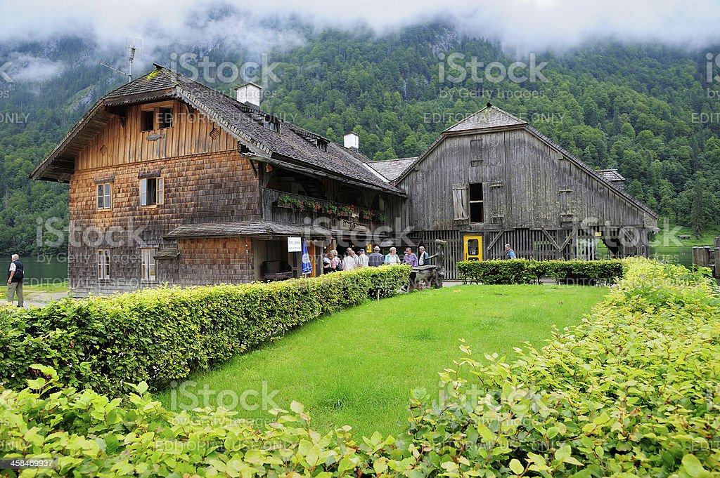 The Wooden House at Koenigssee stock photo