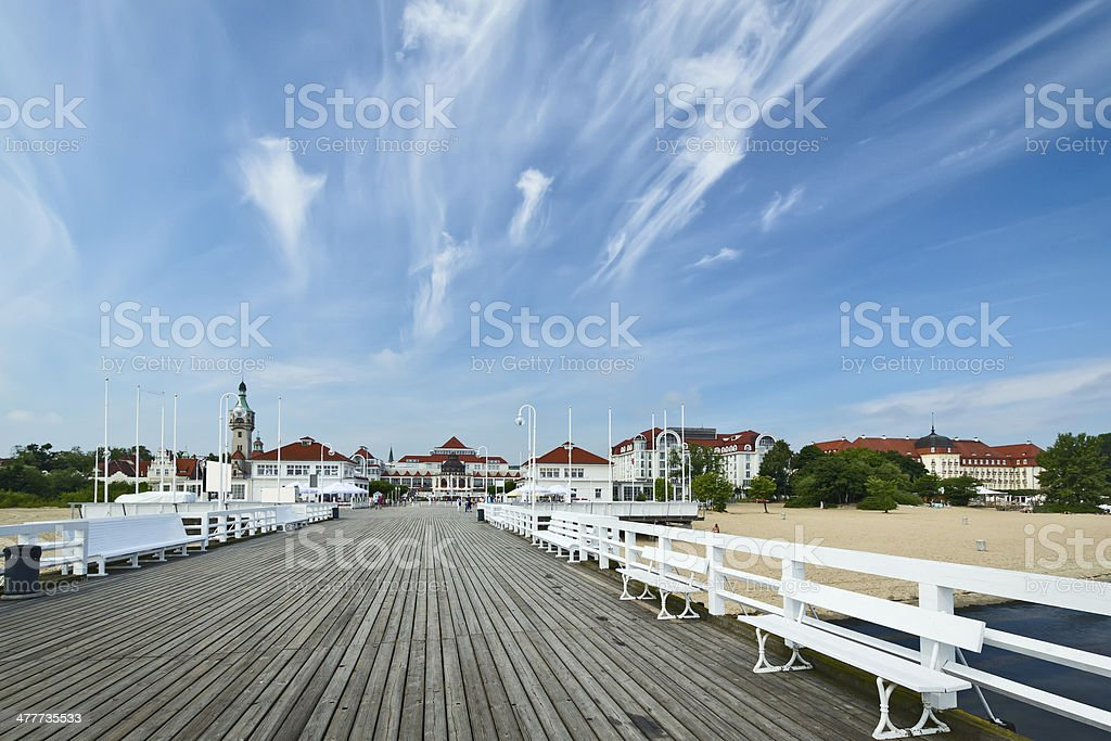 The wooden pier in Sopot, Poland royalty-free stock photo