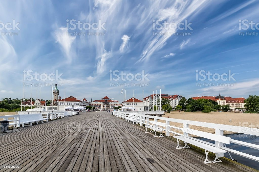 The wooden pier in Sopot, Poland stock photo