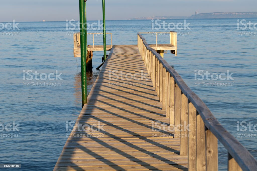 The wooden platform in Dardanelles. The view from Asia on Europe stock photo