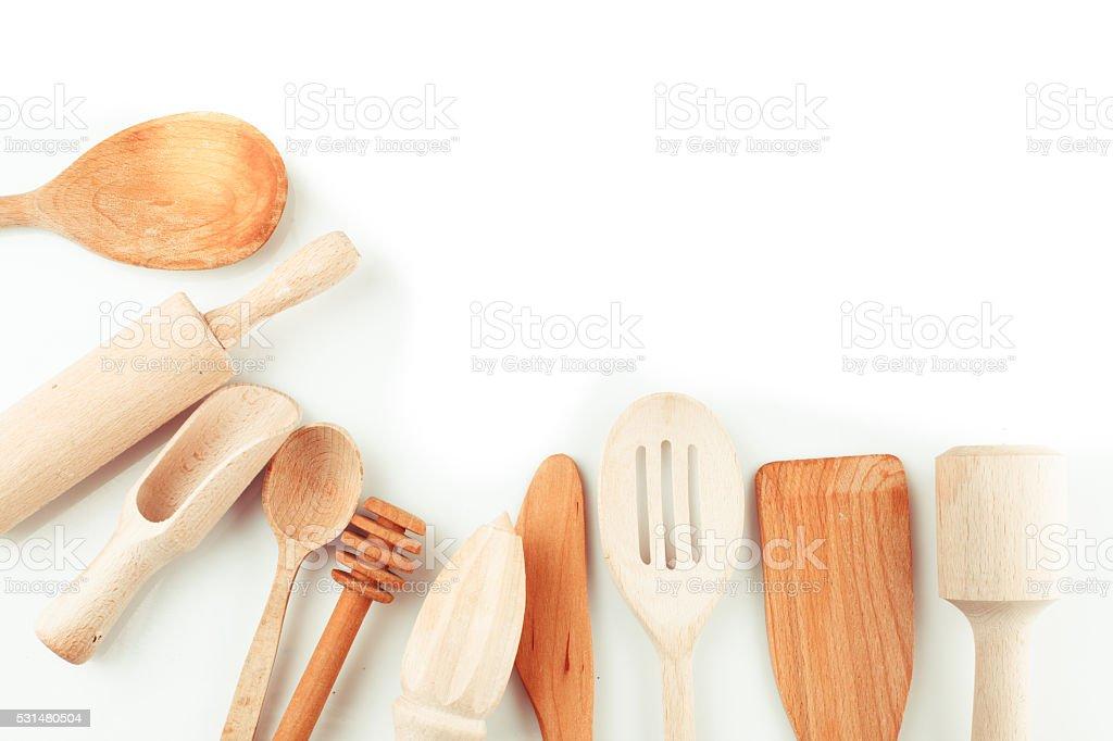 The Wooden utensils stock photo
