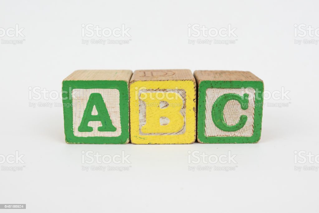 The Word ABC in Wooden Childrens Blocks stock photo