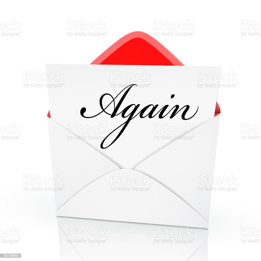 the word again on a card stock photo