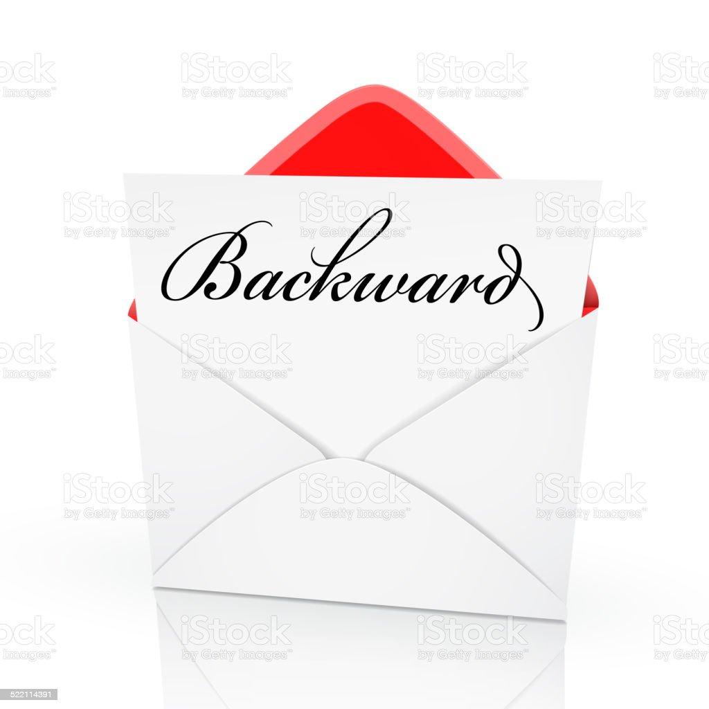 the word backward on a card stock photo