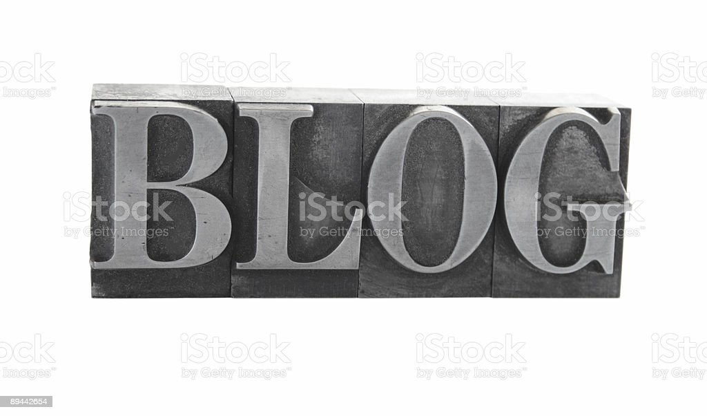 the word 'BLOG' in old metal letterpress type royalty-free stock photo
