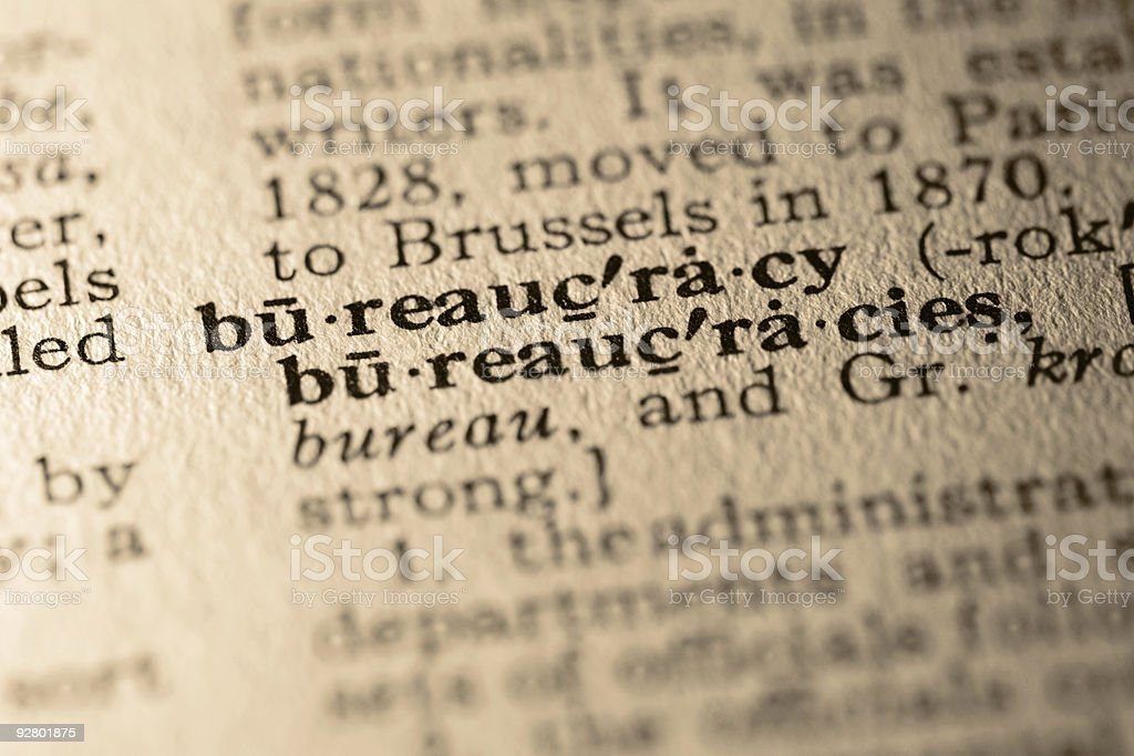 The word bureaucracy stock photo