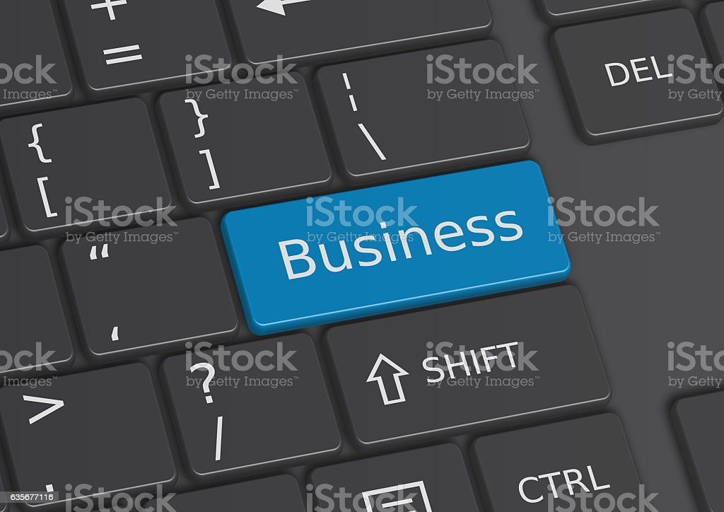 The word Business written on the keyboard stock photo