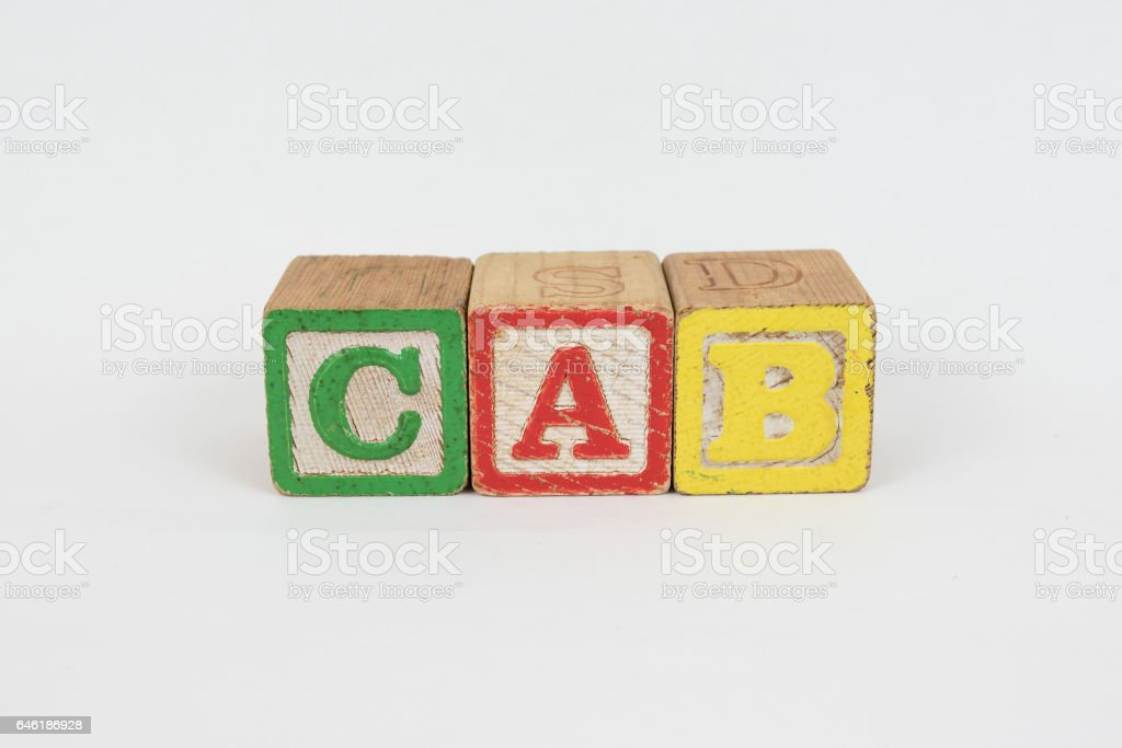 The Word Cab in Wooden Childrens Blocks stock photo