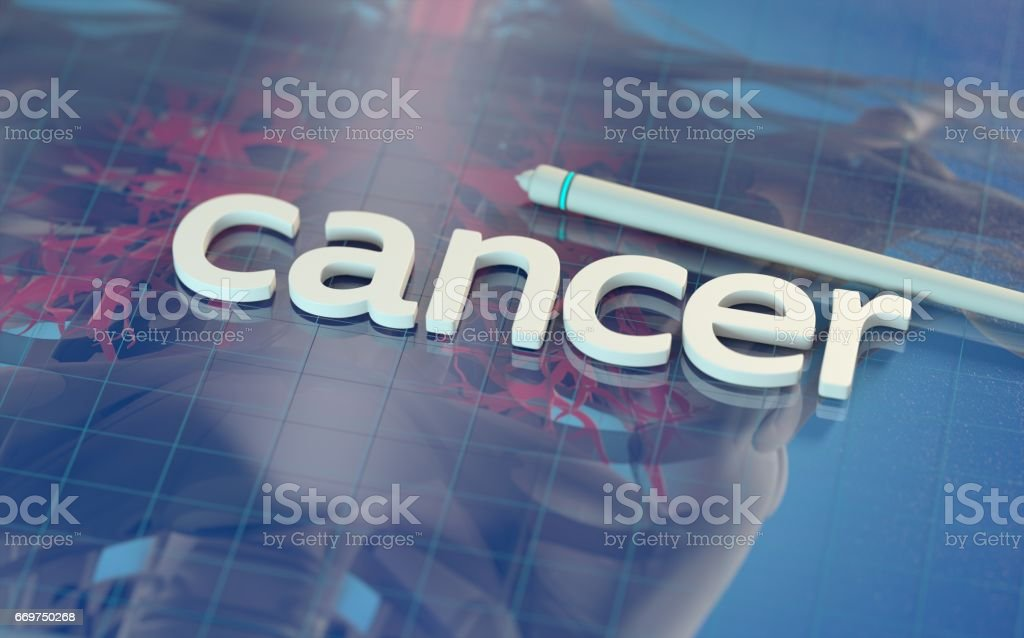 The word 'cancer' on a reflective digital surface with anatomical imagery beneath.Medical technology. 3d illustration. stock photo