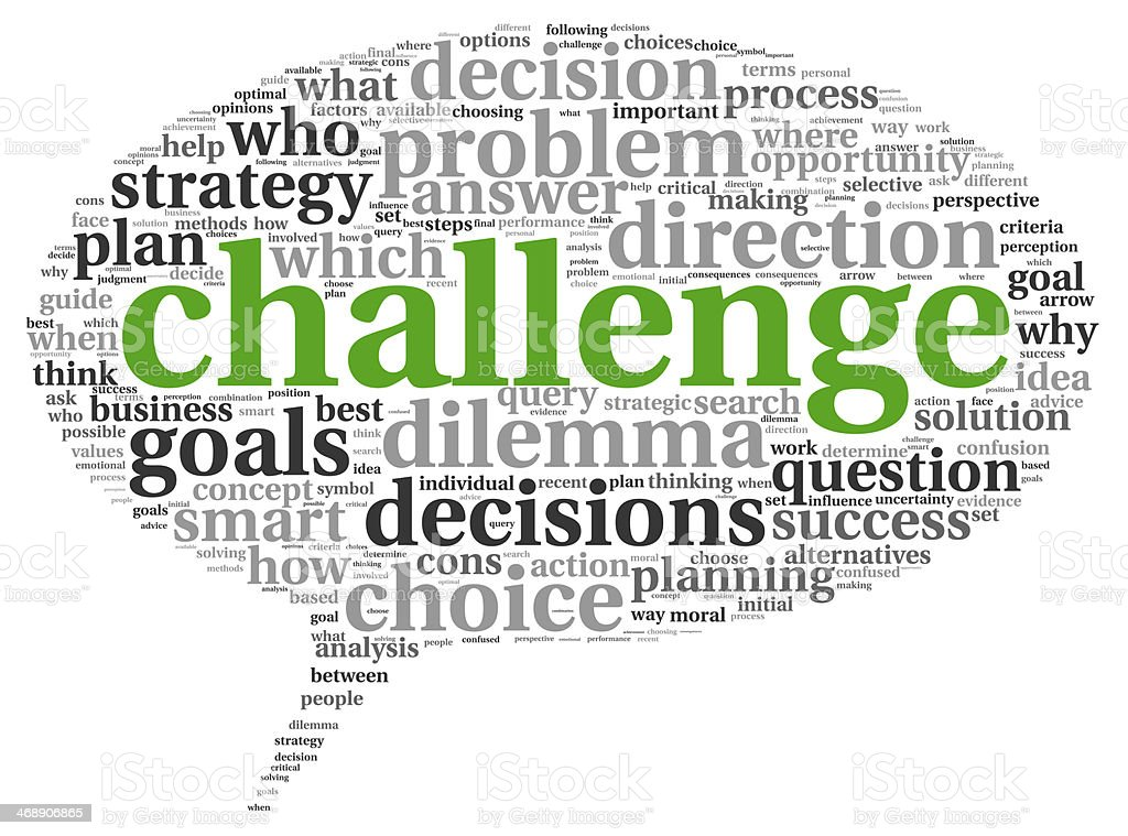 The word challenge on a speech bubble as a concept stock photo