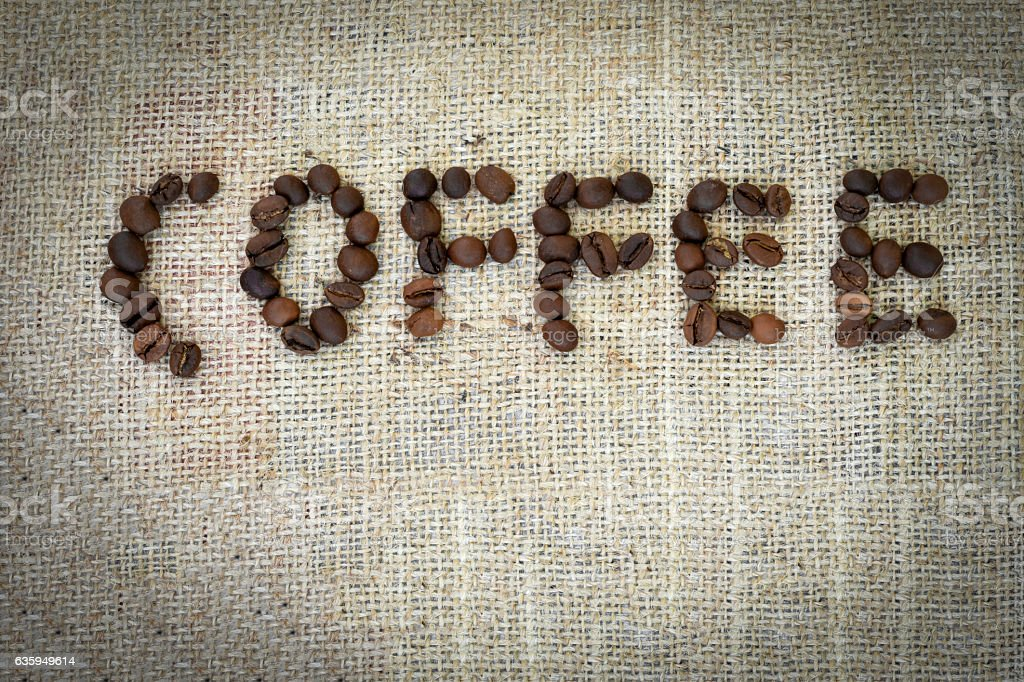 The word 'Coffee' written with Coffee Beans stock photo