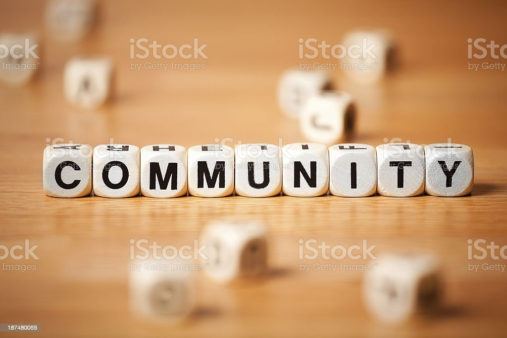 The Word COMMUNITY Spelled In Letter Cubes royalty-free stock photo