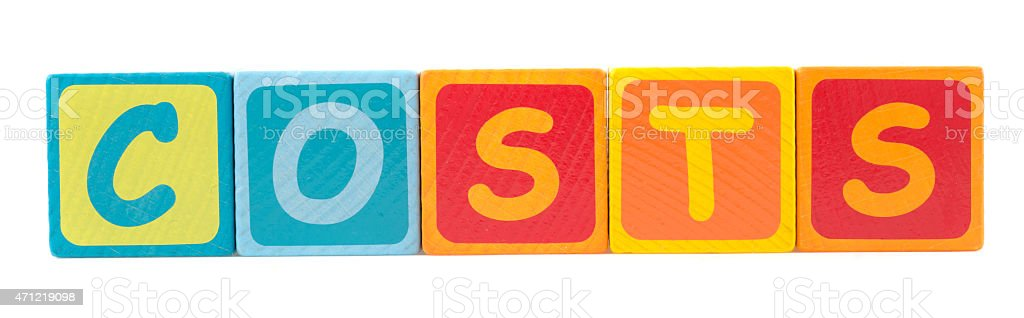 the word costs written with toy blocks vector art illustration