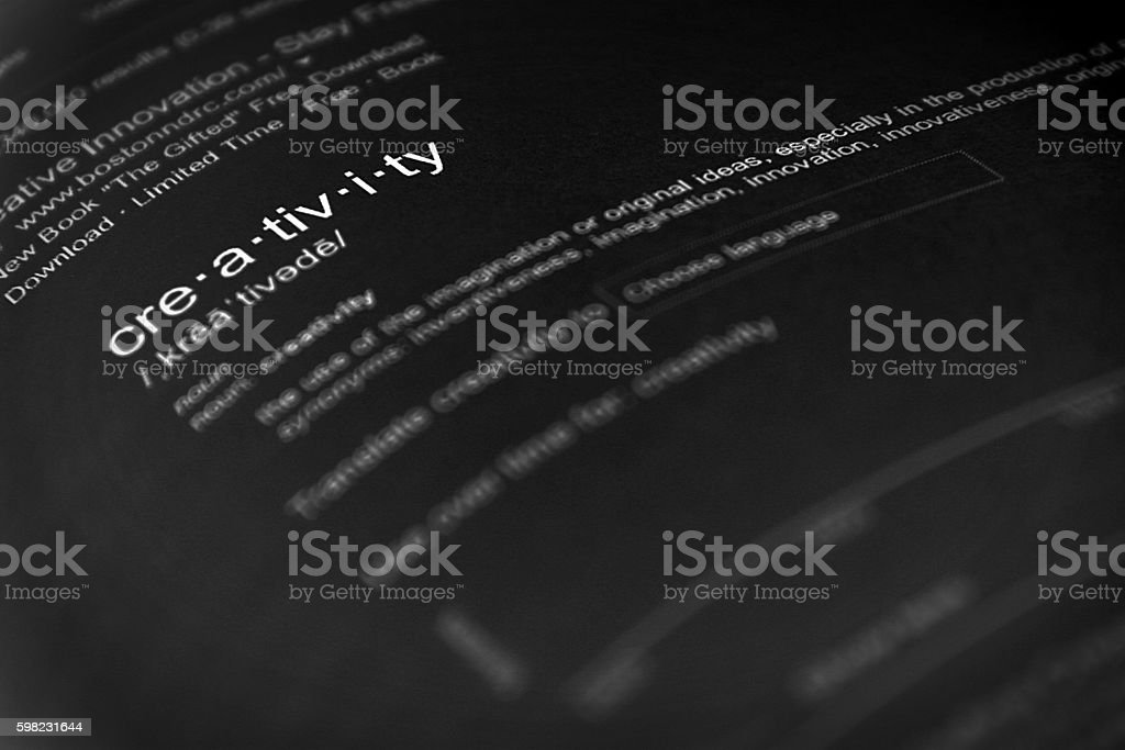 The word creativity, close up, selective focus stock photo