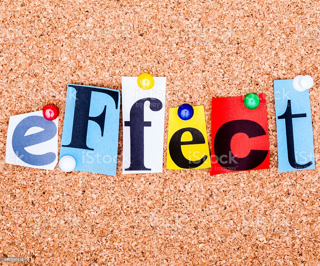 The word effect in cut out magazine letters stock photo