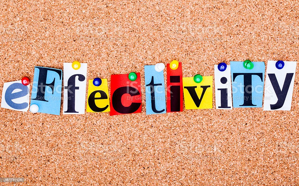 The word effectivity in cut out magazine letters stock photo