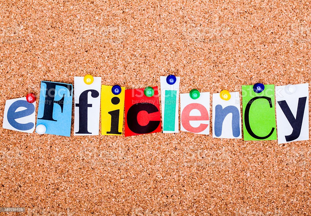 The word efficiency in cut out magazine letters stock photo