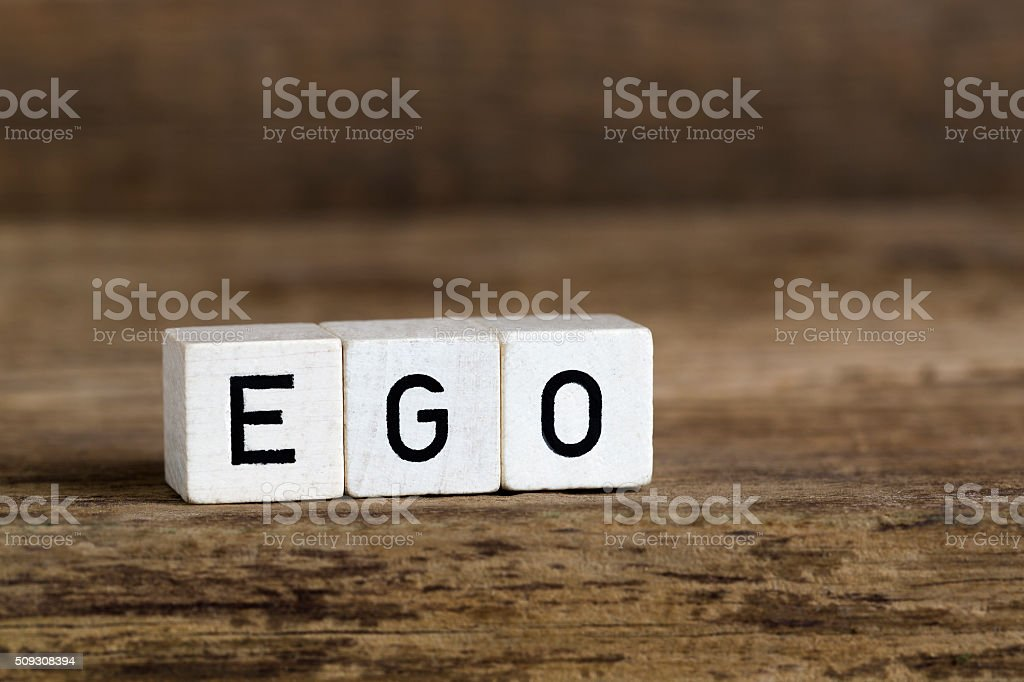 The word ego written in cubes stock photo