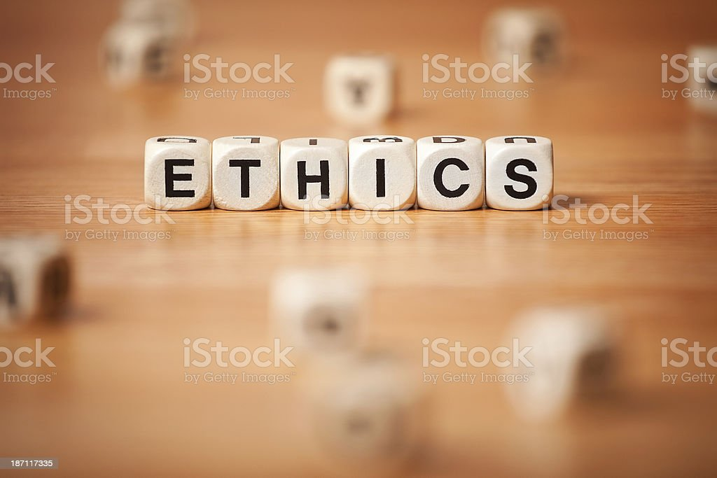 The Word ETHICS Spelled In Letter Cubes royalty-free stock photo