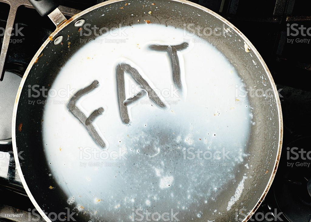 The word FAT Drawn in Bacon Grease. stock photo