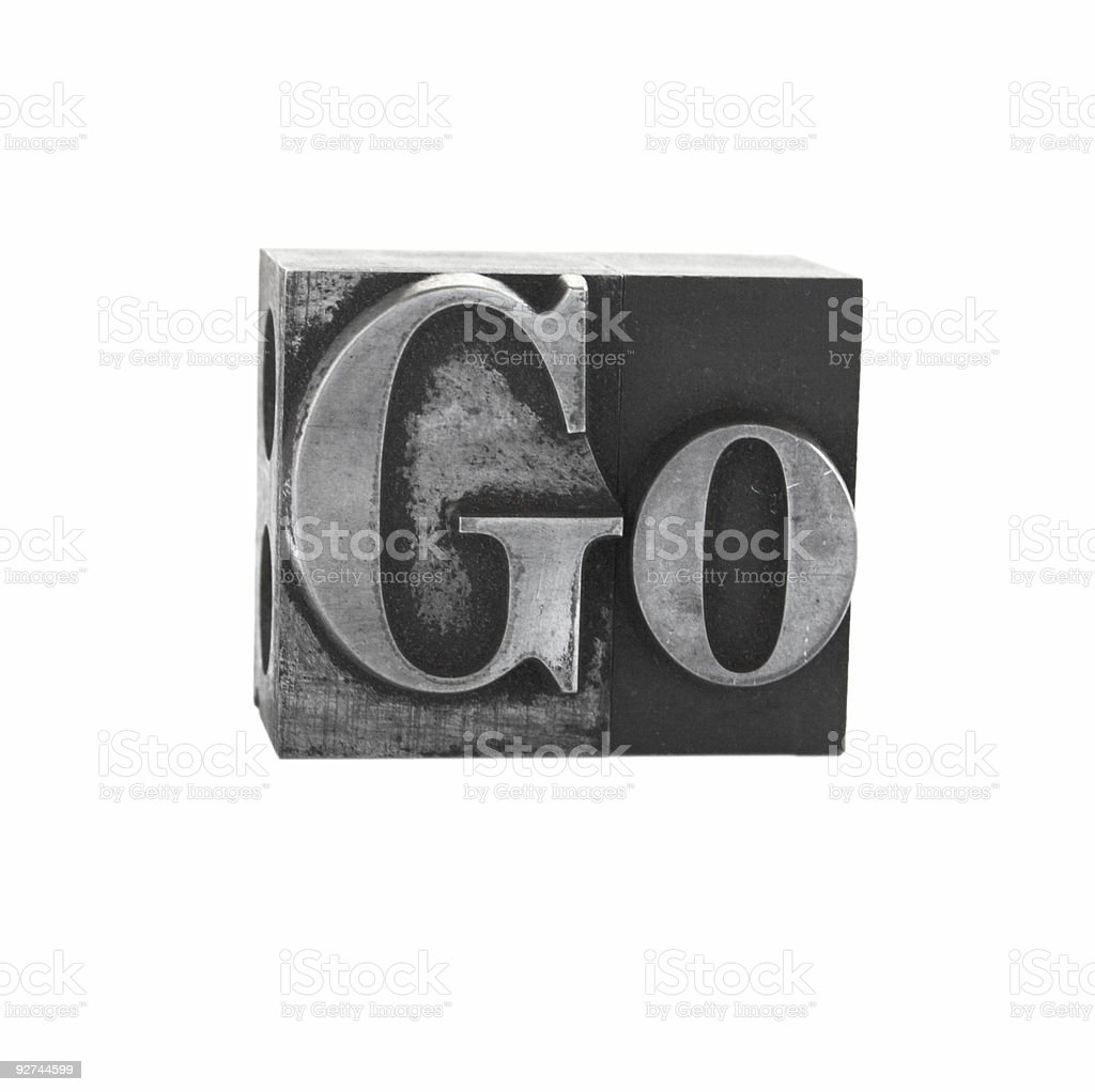 the word 'Go' in old metal letterpress type royalty-free stock photo