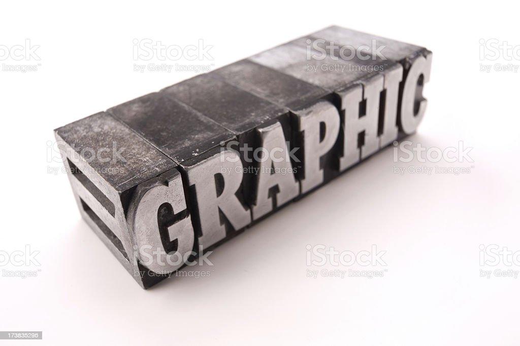 The word GRAPHIC  - printing blocks royalty-free stock photo