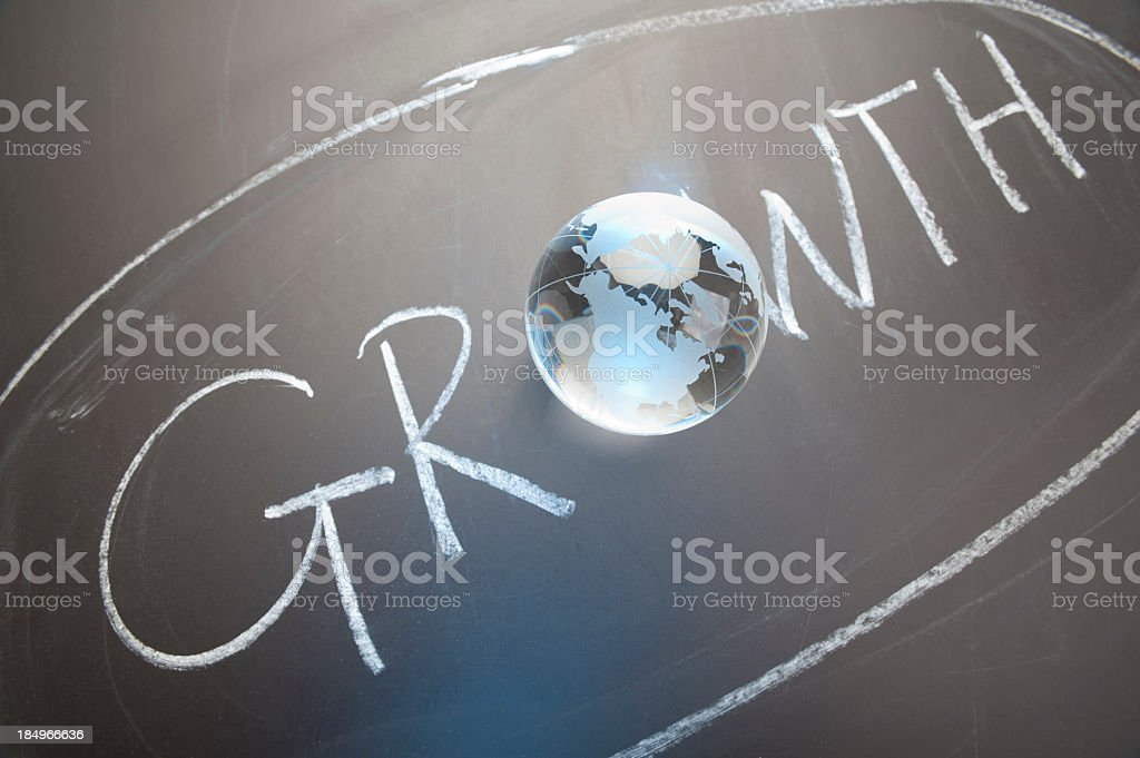 The word growth contains a globe stock photo