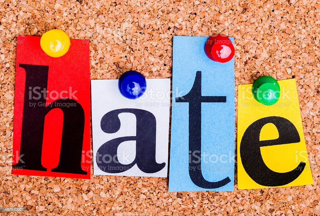 The word hate in cut out magazine letters stock photo
