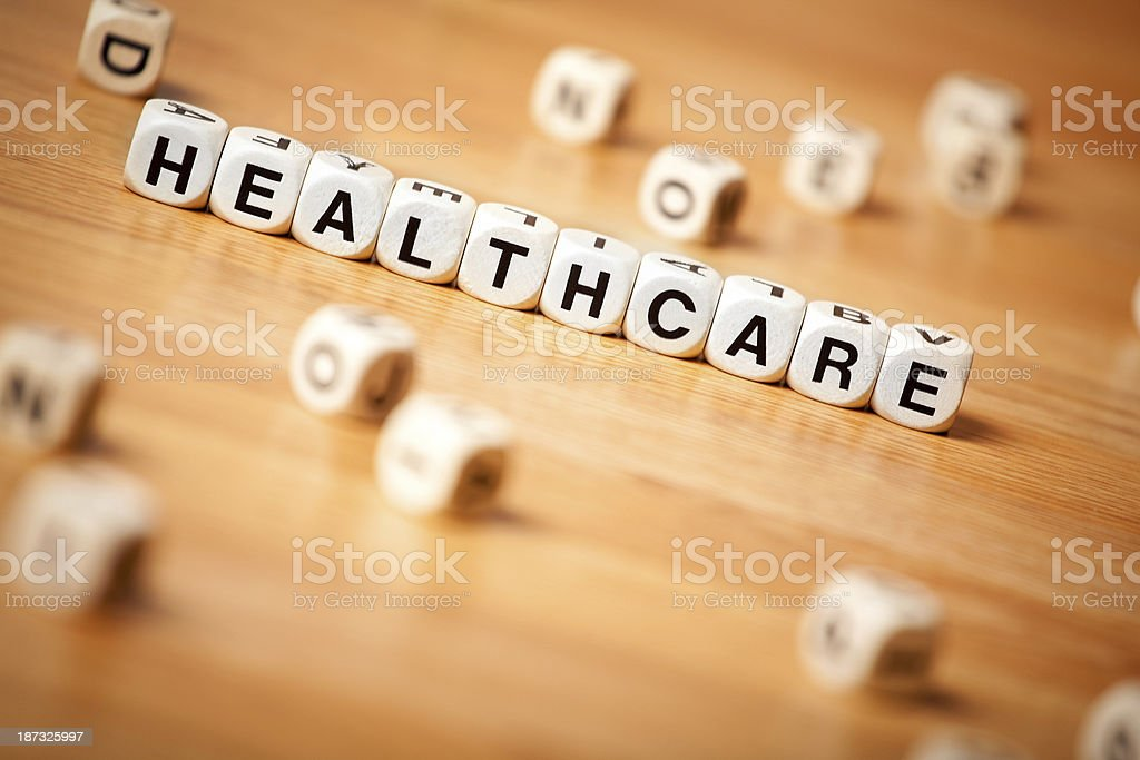 The Word Healthcare Spelled In Letter Cubes royalty-free stock photo