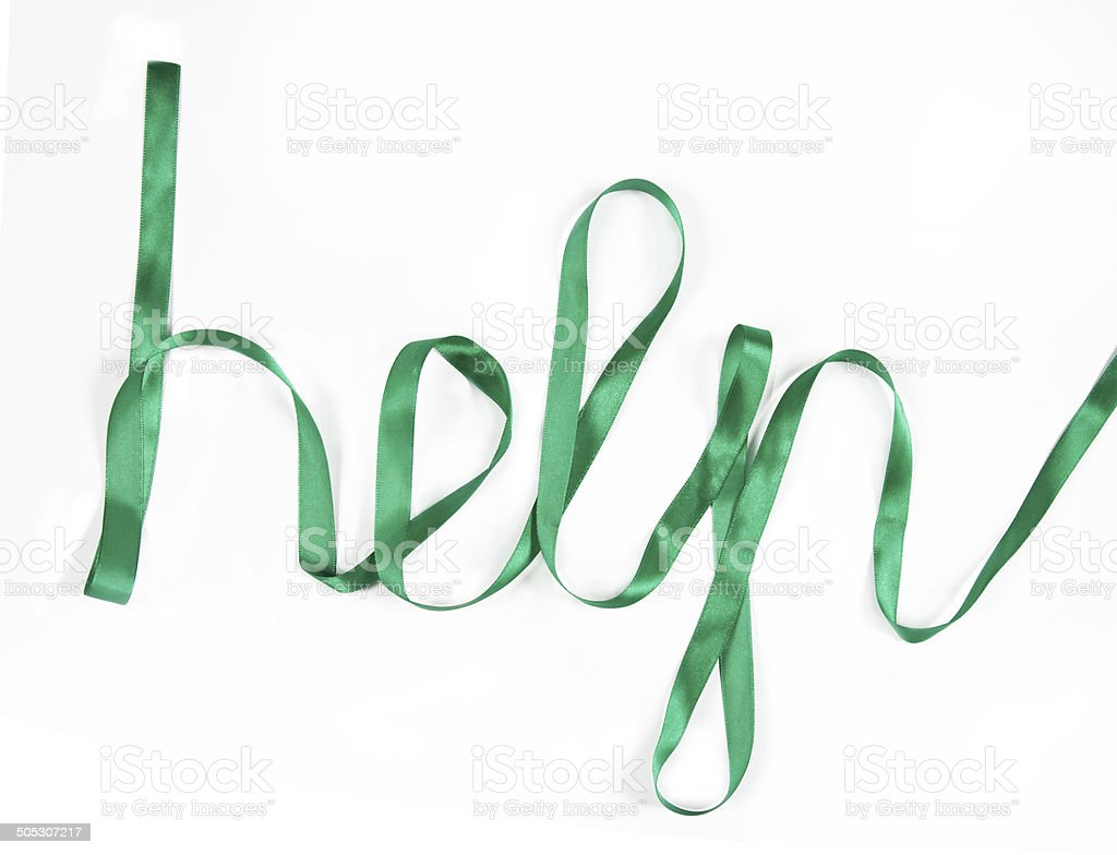 the word 'help' made ​​of satin ribbon, isolated on white stock photo