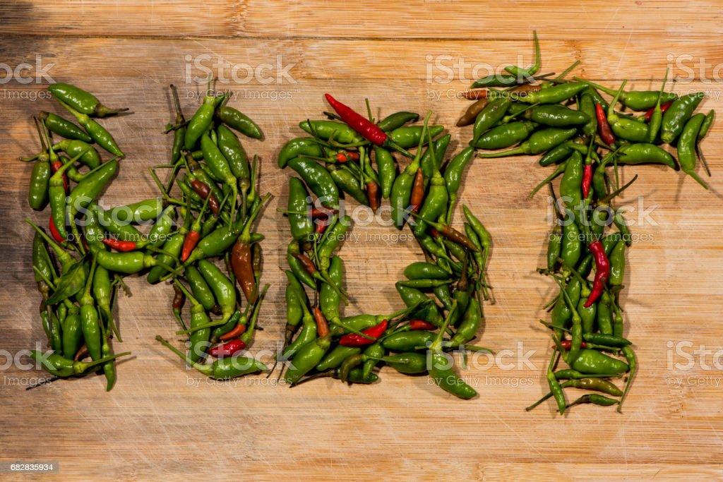 The word HOT written with chillies stock photo