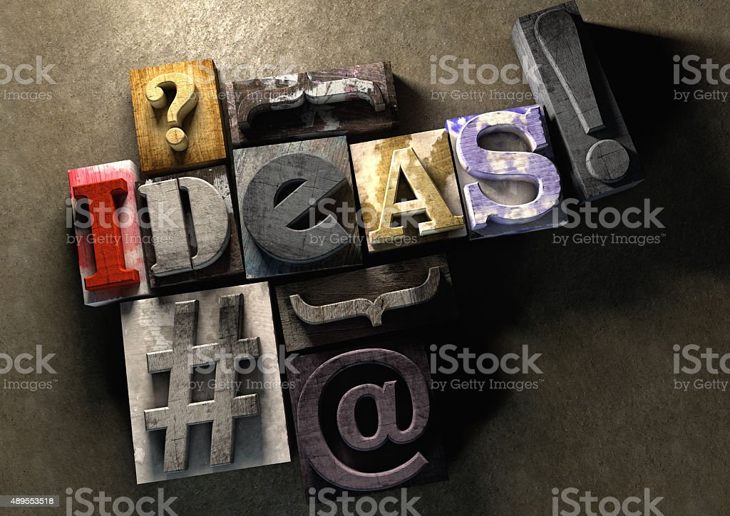 The word ideas made from colorful grunge textured wooden printin stock photo