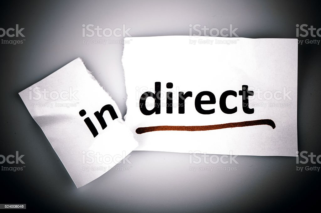 The word indirect changed to direct on torn paper stock photo
