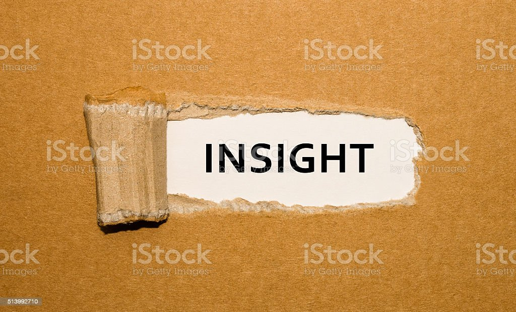 The word Insight appearing behind torn brown paper. stock photo